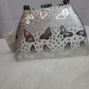 NWT Butterfly sliver mini handbag